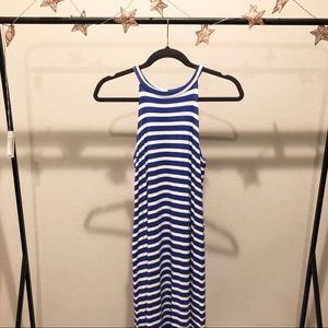 Fighting Eel Blue and White Striped Midi Dress